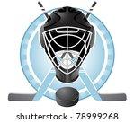 emblem with goaltender helmet ...   Shutterstock .eps vector #78999268