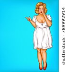 vector fat  obese blonde pin up ... | Shutterstock .eps vector #789992914