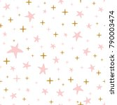 Stock vector gentle hand drawn seamless pattern decorated golden and pink stars on white background vector 790003474