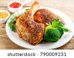 chicken legs with vegetables on ... | Shutterstock . vector #790009231