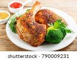 chicken legs with vegetables on ... | Shutterstock . vector #790009231