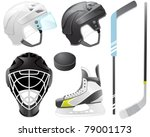 goaltender helmet  hockey...   Shutterstock .eps vector #79001173