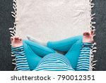 overhead view of pregnant woman ... | Shutterstock . vector #790012351