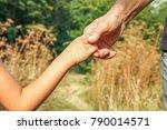 beautiful hands outdoors in a... | Shutterstock . vector #790014571