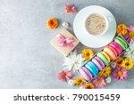photo of cake macarons  gift... | Shutterstock . vector #790015459