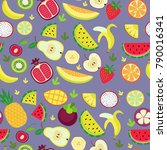 fruity pattern on a violet... | Shutterstock .eps vector #790016341