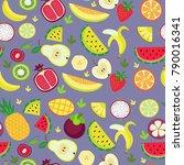 fruity pattern on a violet... | Shutterstock .eps vector #790016341