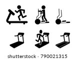 set of treadmill and elliptical ... | Shutterstock .eps vector #790021315