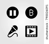 buttons vector icons set. pause ... | Shutterstock .eps vector #790026091