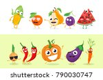 funny fruit and vegetables  ... | Shutterstock .eps vector #790030747