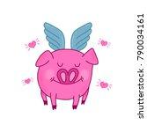 cute love pig illustration.... | Shutterstock . vector #790034161