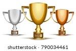 trophy tournament cup set. gold ...   Shutterstock .eps vector #790034461