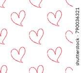 hand drawn hearts seamless... | Shutterstock .eps vector #790036321