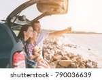 happy family on a road trip in... | Shutterstock . vector #790036639