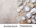 spa setting from body care and... | Shutterstock . vector #790040431