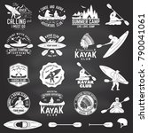 set of canoe and kayak club...   Shutterstock .eps vector #790041061