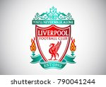 Liverpool, England, 10 Jan 2018 : Vector illustration of Liverpool Football club, logo on white gradient background.