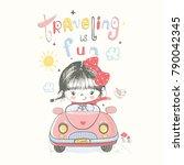 cute baby gir in car.cartoon... | Shutterstock .eps vector #790042345