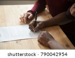 african american man signing... | Shutterstock . vector #790042954