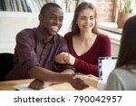 smiling multiracial couple... | Shutterstock . vector #790042957