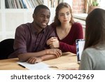 multiethnic couple considering...   Shutterstock . vector #790042969