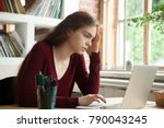 frustrated stressed woman... | Shutterstock . vector #790043245