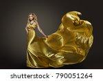woman gold dress  fashion model ... | Shutterstock . vector #790051264