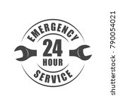 24 hour emergency service logo... | Shutterstock .eps vector #790054021