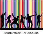 dancing people silhouettes.... | Shutterstock .eps vector #790055305