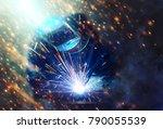 welder erecting technical steel.... | Shutterstock . vector #790055539