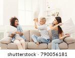three young women having pillow ...   Shutterstock . vector #790056181