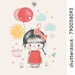 cute girl with balloon.hand... | Shutterstock .eps vector #790058095