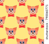 seamless pattern with cat faces ... | Shutterstock .eps vector #790060771