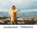 young woman blonde enjoying... | Shutterstock . vector #790062541