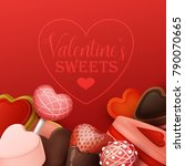 valentine s day background with ... | Shutterstock .eps vector #790070665
