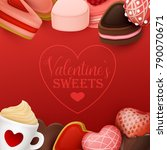 valentine s day background with ... | Shutterstock .eps vector #790070671