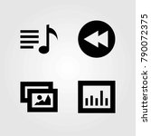 multimedia vector icons set.... | Shutterstock .eps vector #790072375