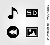 multimedia vector icons set.... | Shutterstock .eps vector #790073089