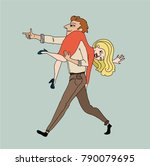 the guy is carrying the girl on ... | Shutterstock .eps vector #790079695
