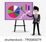 businessman and graphs on... | Shutterstock .eps vector #790080079