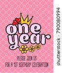 birthday princess card... | Shutterstock .eps vector #790080994