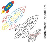 rocket the space transport  the ... | Shutterstock .eps vector #790081771