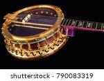 5 string banjos on black...   Shutterstock . vector #790083319