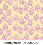 seamless pattern of sketches of ... | Shutterstock .eps vector #790088977