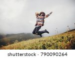 stylish traveler girl in hat... | Shutterstock . vector #790090264