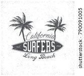 vintage surfing tee design.... | Shutterstock .eps vector #790091005