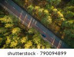 aerial view on pine forest ... | Shutterstock . vector #790094899