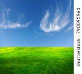 green field and beautiful sky... | Shutterstock . vector #790095961