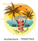 vintage surfing tee design.... | Shutterstock .eps vector #790097965