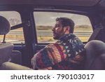 man passenger sleeping in the... | Shutterstock . vector #790103017